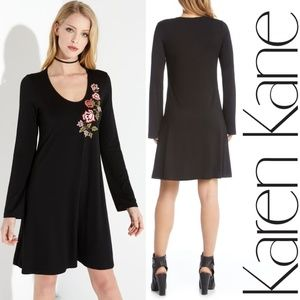 Karen Kane Embroidered Long Sleeve Dress